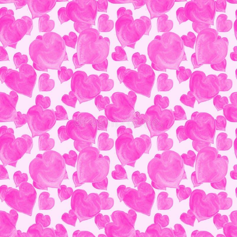Modello senza cuciture dei cuori rosa dell'acquerello fotografia stock libera da diritti