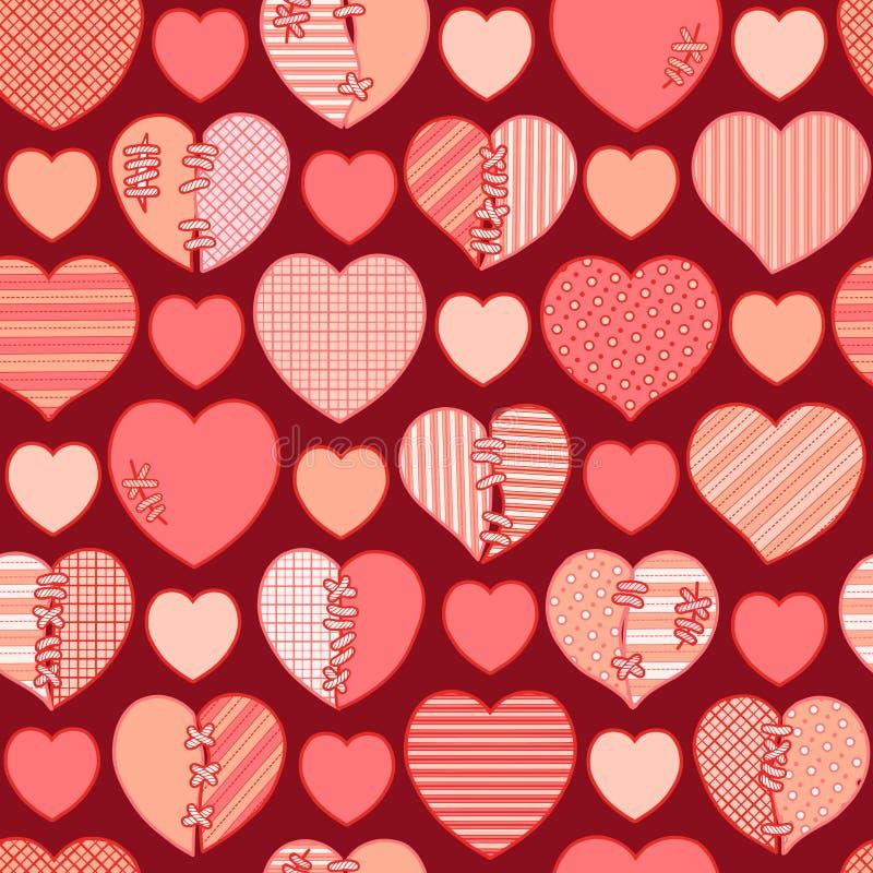 Modello senza cuciture dei cuori rotti rossi per lo spostamento di regalo, le congratulazioni, gli inviti di nozze e giorno del ` illustrazione vettoriale