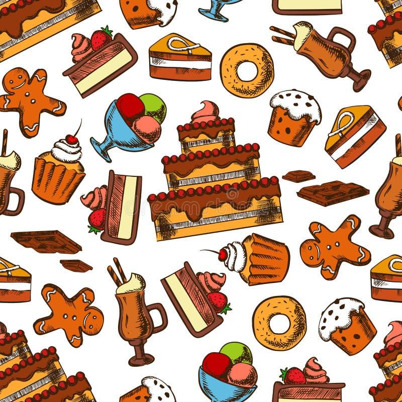 Modello senza cuciture dei dessert e delle pasticcerie del cioccolato illustrazione di stock