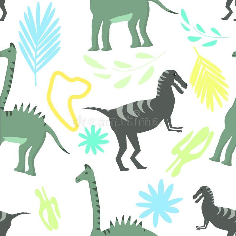 Modello senza cuciture dei dinosauri sull'illustrazione floreale variopinta di vettore del fondo illustrazione vettoriale