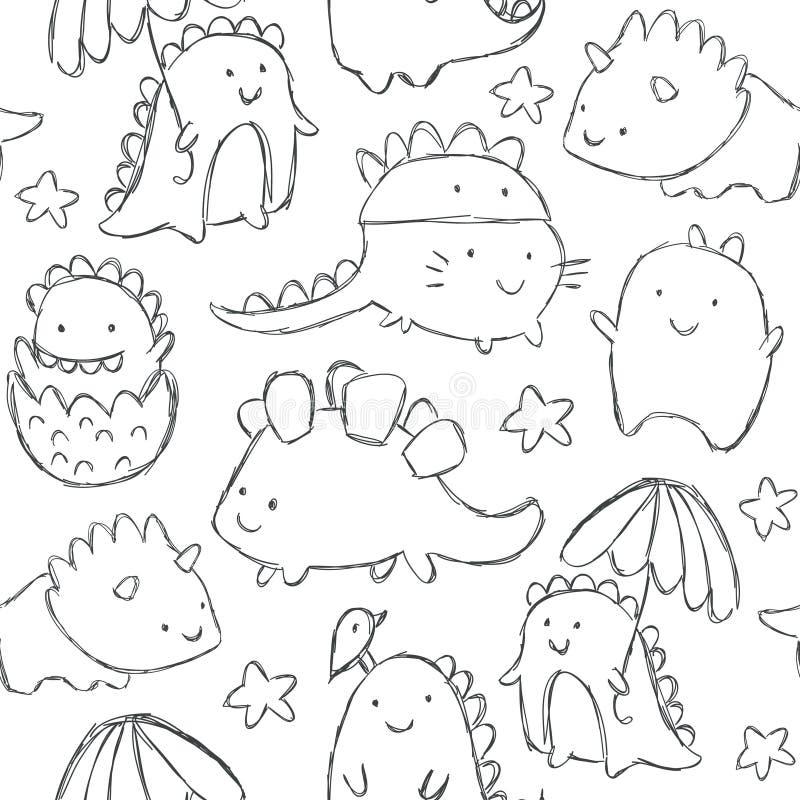 Modello senza cuciture dei dinosauri svegli del bambino illustrazione di stock