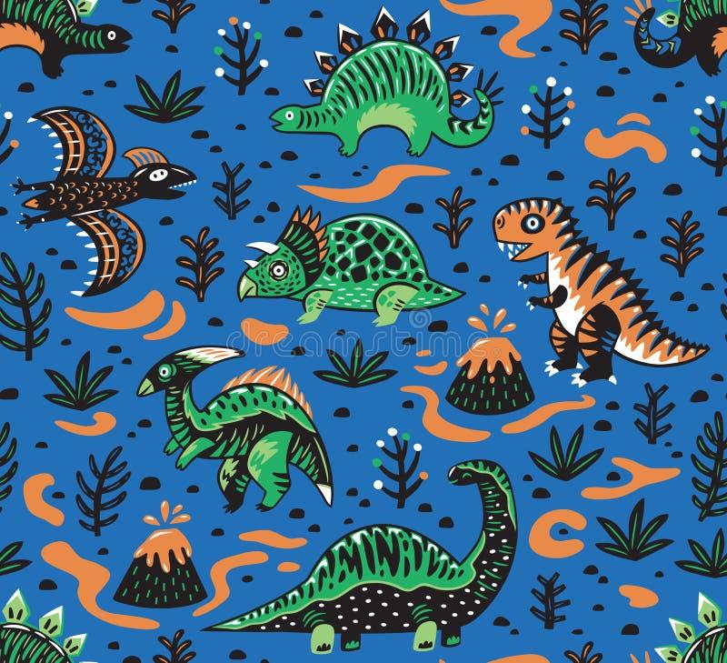 Modello senza cuciture dei dinosauri svegli del fumetto nei colori rossi, verdi e blu Illustrazione di vettore illustrazione di stock
