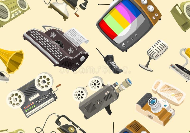 Modello senza cuciture dei dispositivi d'annata Retro media di tecnologia, televisione TV, audio musica radiofonica, registratori royalty illustrazione gratis