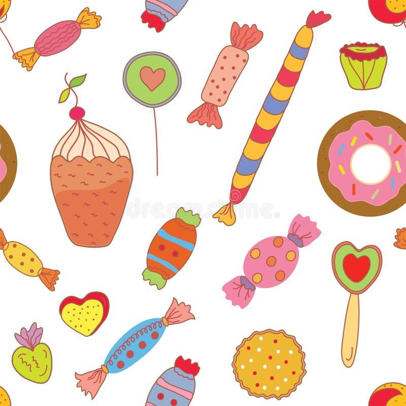 Modello senza cuciture dei dolci con le caramelle ed i biscotti illustrazione vettoriale