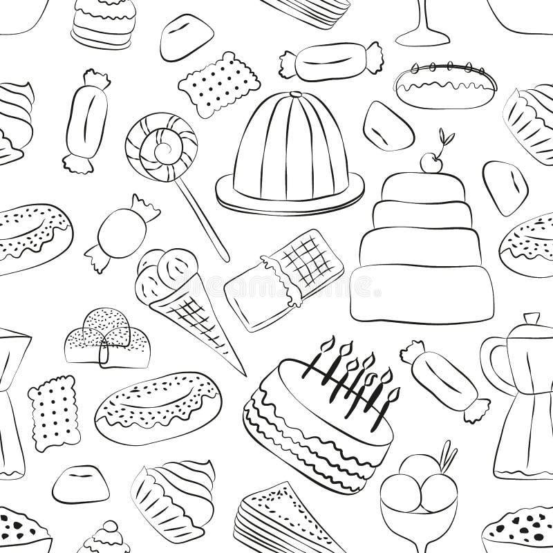 Modello senza cuciture dei dolci di Outlinrd con gli elementi disegnati a mano illustrazione vettoriale