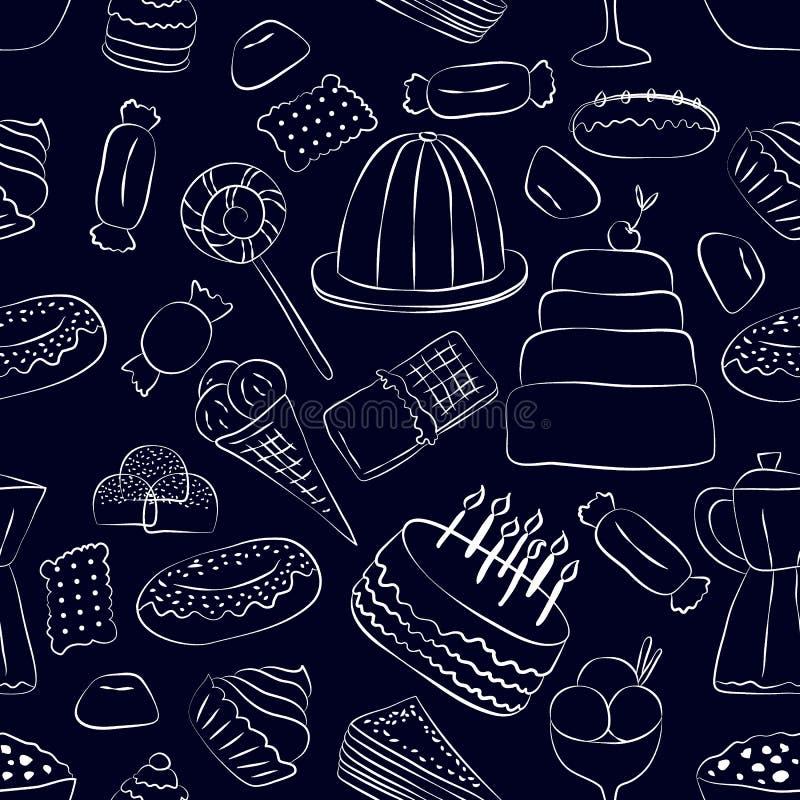 Modello senza cuciture dei dolci disegnati a mano su fondo scuro illustrazione di stock