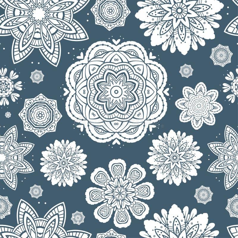 Modello senza cuciture dei fiocchi di neve floreali decorati illustrazione vettoriale