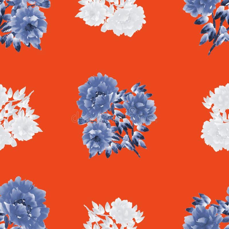 Modello senza cuciture dei fiori bianchi e blu delle peonie su un fondo rosso watercolor illustrazione vettoriale
