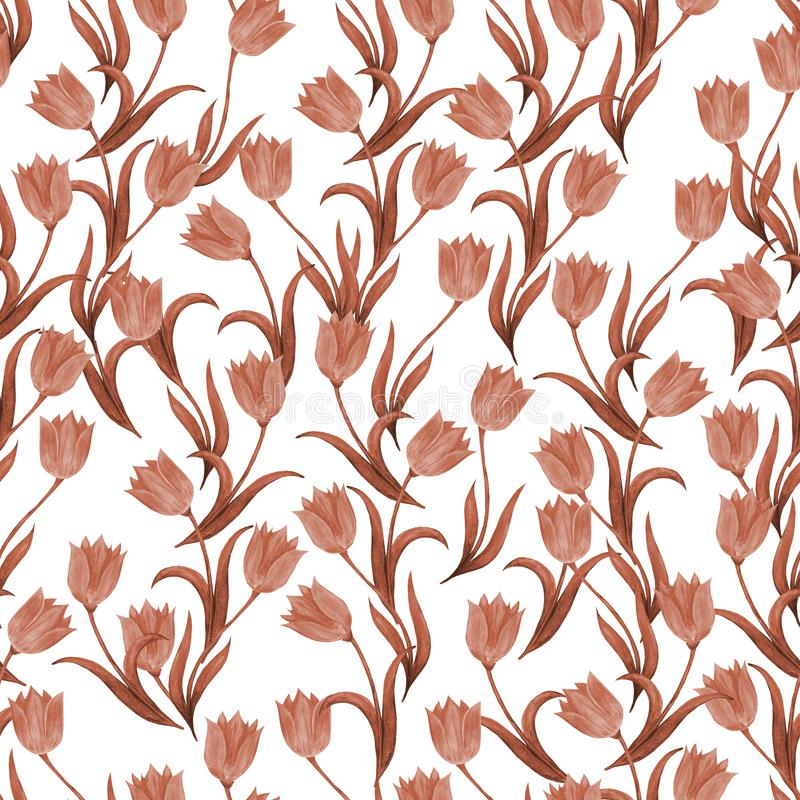 Modello senza cuciture dei fiori del tulipano su un fondo bianco Retro stile monocromatico illustrazione vettoriale