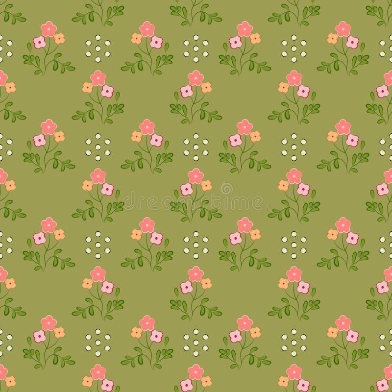 Modello senza cuciture dei fiori dell'albicocca e di rosa con le foglie verdi, su un fondo verde oliva illustrazione vettoriale
