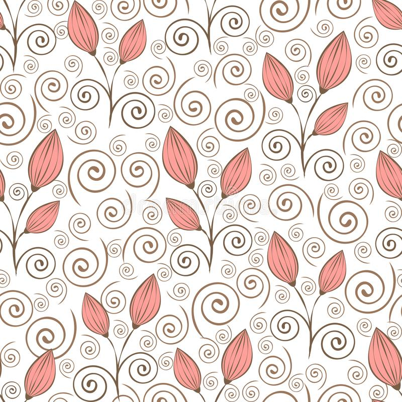 Modello senza cuciture dei fiori dell'estratto, disegno della mano del profilo, illustrazione minimalistic, fondo di vettore Germ royalty illustrazione gratis