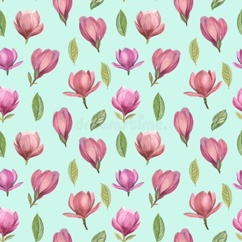 Modello senza cuciture dei fiori e delle foglie della magnolia royalty illustrazione gratis