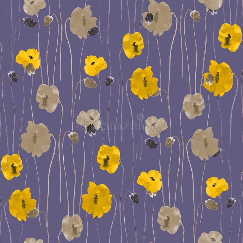 Modello senza cuciture dei fiori gialli e beige su un fondo violetto-scuro watercolor royalty illustrazione gratis