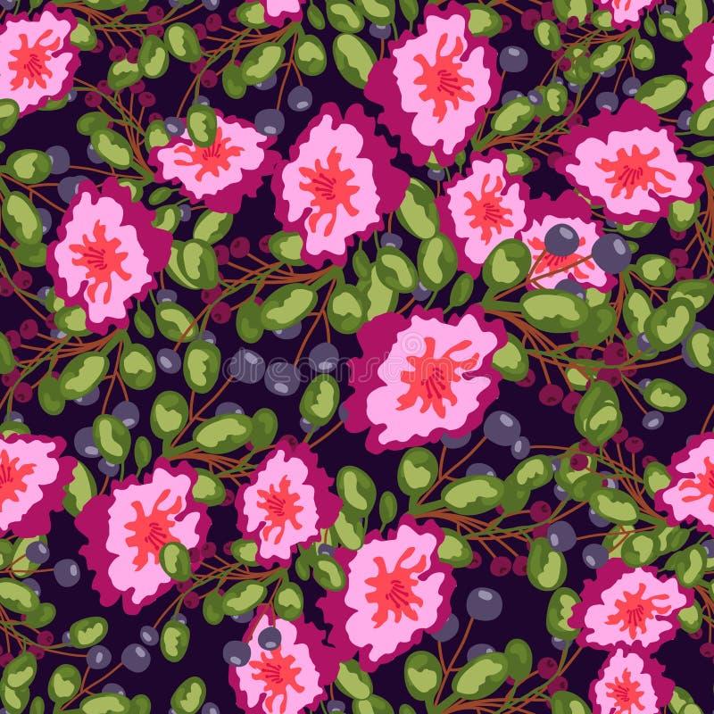 Modello senza cuciture dei fiori rosa dei piccoli mazzi, delle bacche blu e delle foglie verdi stampa di vettore su fondo scuro royalty illustrazione gratis