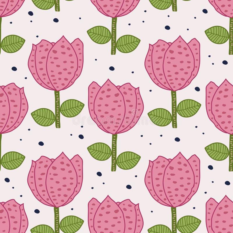 Modello senza cuciture dei fiori scandinavi Illustrazione floreale di vettore del fondo di colori pastelli del disegno di Rosa pe illustrazione di stock