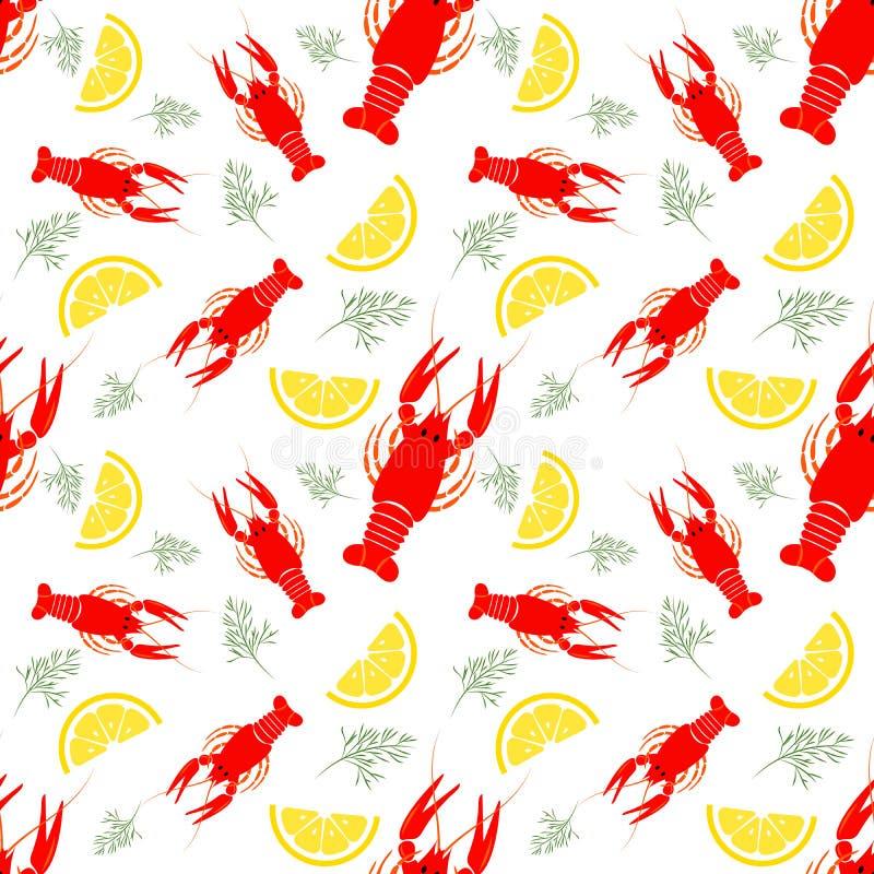 Modello senza cuciture dei frutti di mare con il gambero, il limone e l'aneto bolliti Fondo dell'alimento del gambero Grande per  royalty illustrazione gratis