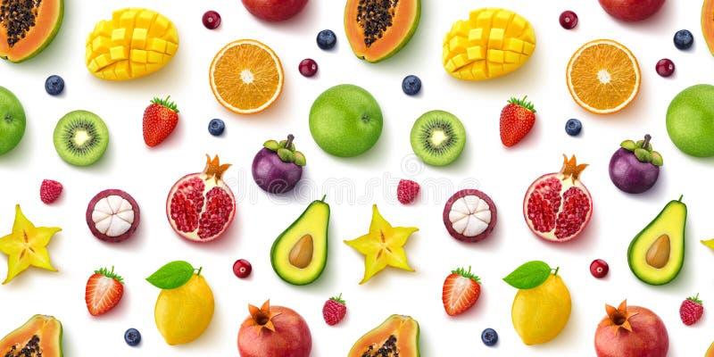Modello senza cuciture dei frutti e delle bacche differenti, disposizione piana, vista superiore immagini stock