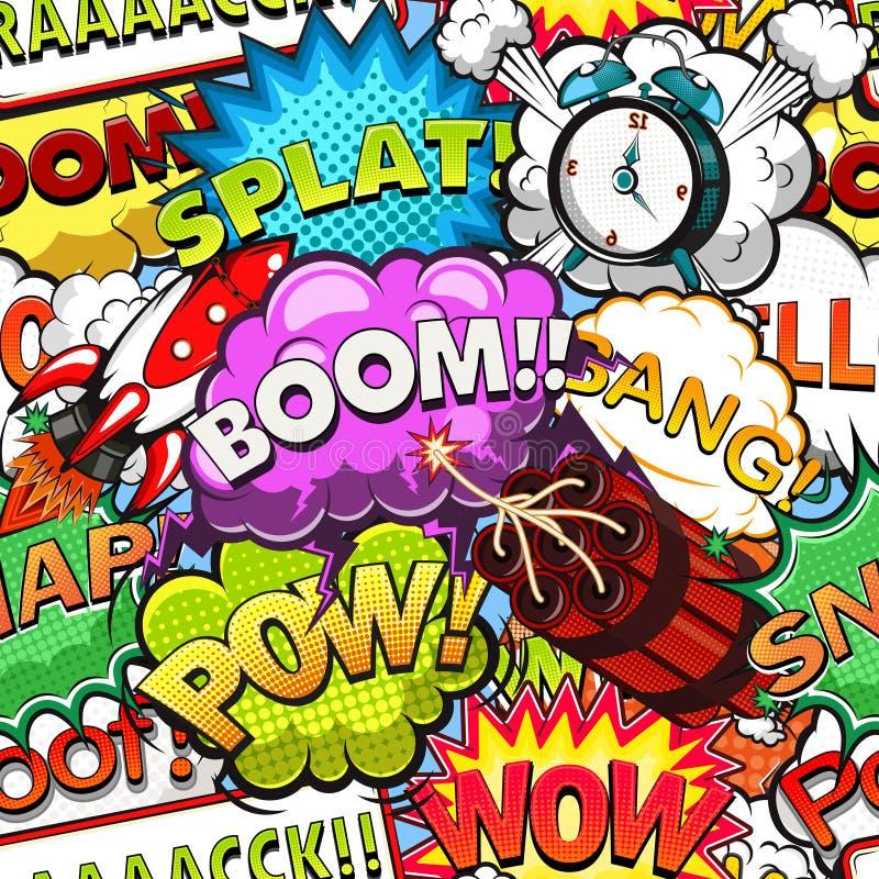 Modello senza cuciture dei fumetti comici Rocket La grande campana assicura sveglia Vettore illustrazione vettoriale