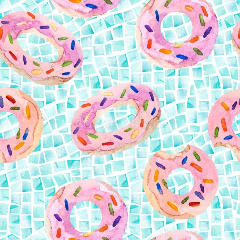 Modello senza cuciture dei galleggianti dello stagno di estate, mattonelle geometriche dell'acquerello illustrazione di stock