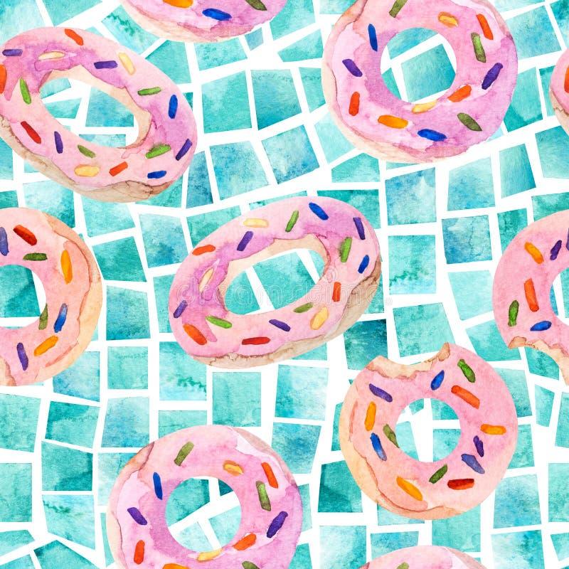 Modello senza cuciture dei galleggianti dello stagno di estate, mattonelle geometriche dell'acquerello illustrazione vettoriale