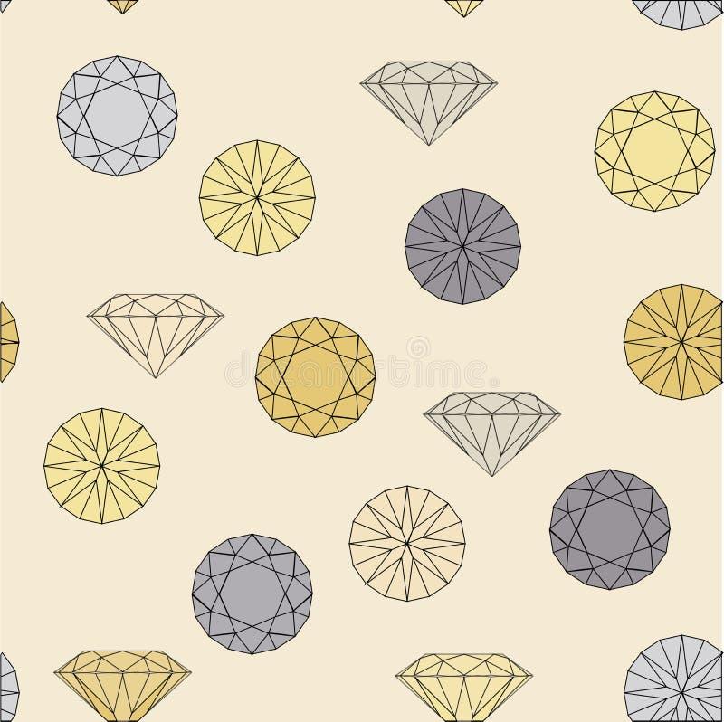 Modello senza cuciture dei gioielli del diamante immagine stock