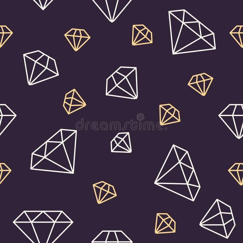 Modello senza cuciture dei gioielli, illustrazione al tratto dei diamanti Icone di vettore dei brilliants Fondo ripetuto buio del illustrazione di stock