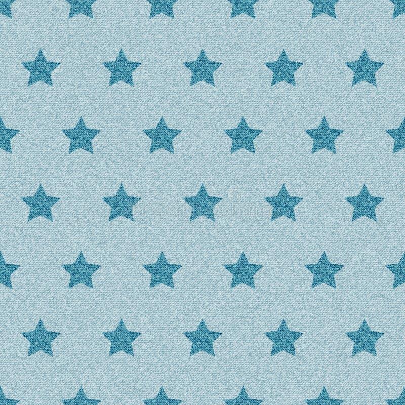 Modello senza cuciture dei jeans stellati blu del denim royalty illustrazione gratis