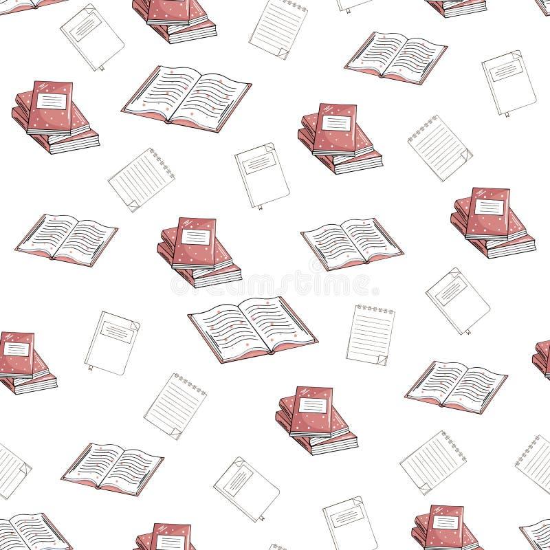 Modello senza cuciture dei libri e dei taccuini su un fondo bianco illustrazione vettoriale