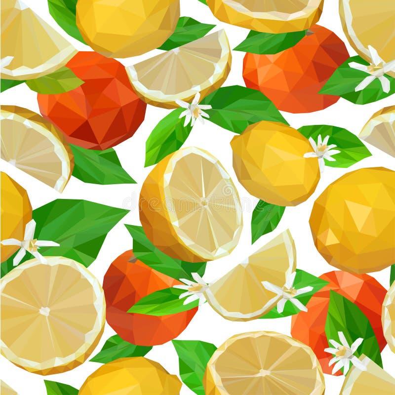 Modello senza cuciture dei limoni e dei mandarini in basso poli royalty illustrazione gratis