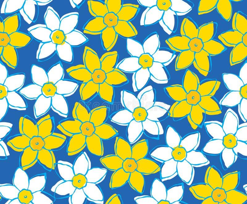 Modello senza cuciture dei narcisi gialli e bianchi su fondo blu fotografia stock