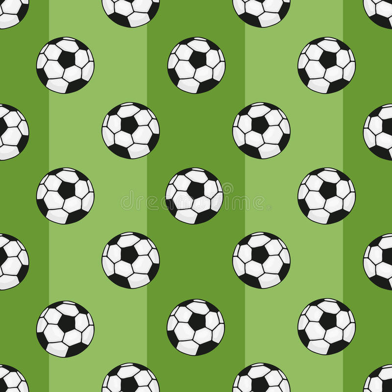 Modello senza cuciture dei palloni da calcio su fondo verde con la banda illustrazione di stock