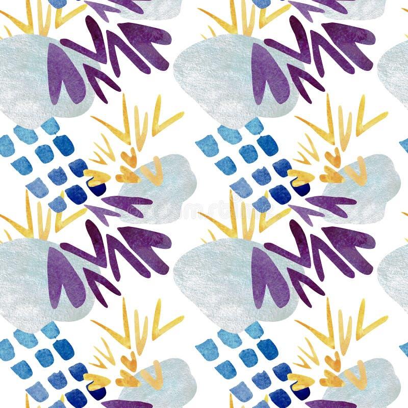Modello senza cuciture dei punti blu astratti e dei segni di spunta gialli Illustrazione dell'acquerello illustrazione vettoriale