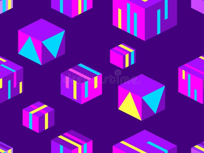 Modello senza cuciture dei quadrati isometrici Gli elementi geometrici di stile di Memphis, 3d obietta Vettore illustrazione vettoriale