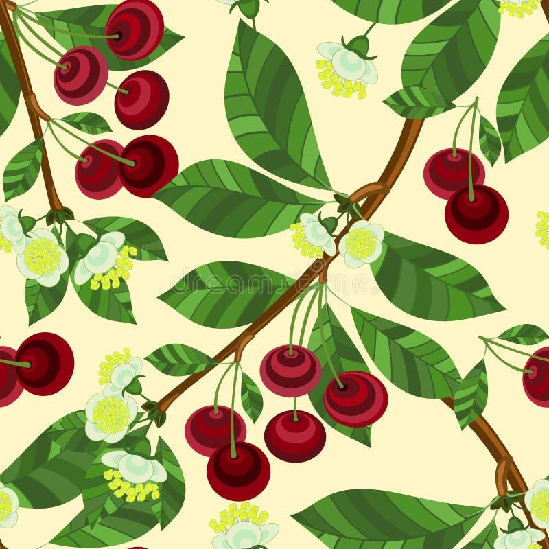 Modello senza cuciture dei rami della ciliegia su un fondo beige royalty illustrazione gratis