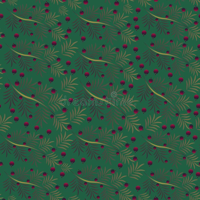 Modello senza cuciture dei rami dorati di Natale con le bacche rosse Natale, notte di Natale, nuovo anno royalty illustrazione gratis
