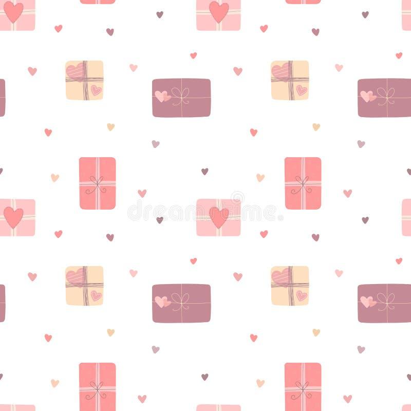 Modello senza cuciture dei regali di amore e dei cuori disegnati a mano nel rosa, colori beige e lilla Immagine di vettore per il royalty illustrazione gratis