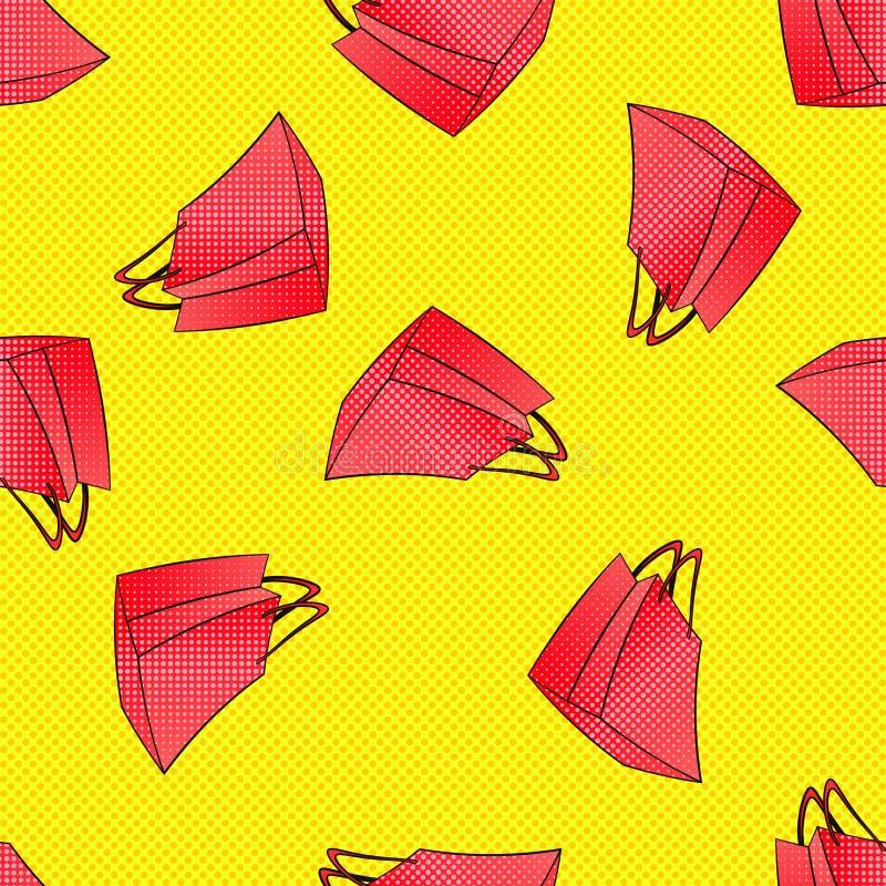 Modello senza cuciture dei sacchetti della spesa Colourful di rossi carmini venerdì nero, vendita stagionale di autunno di invern illustrazione di stock