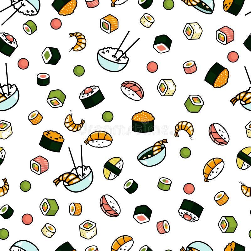 Modello senza cuciture dei sushi di vettore illustrazione di stock