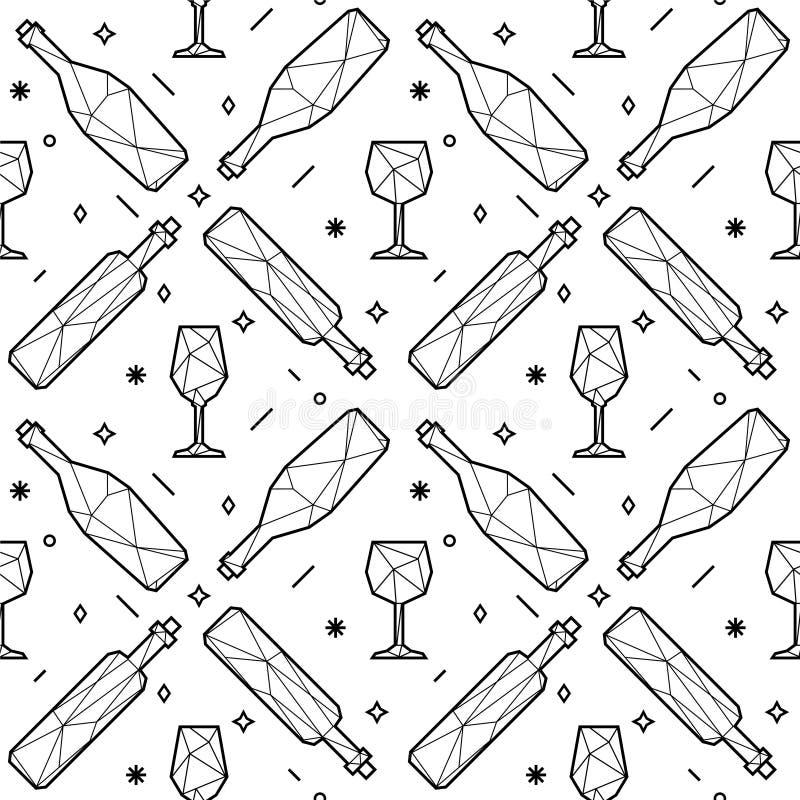 Modello senza cuciture dei vetri e delle bottiglie di vino poligonali del triangolo illustrazione di stock