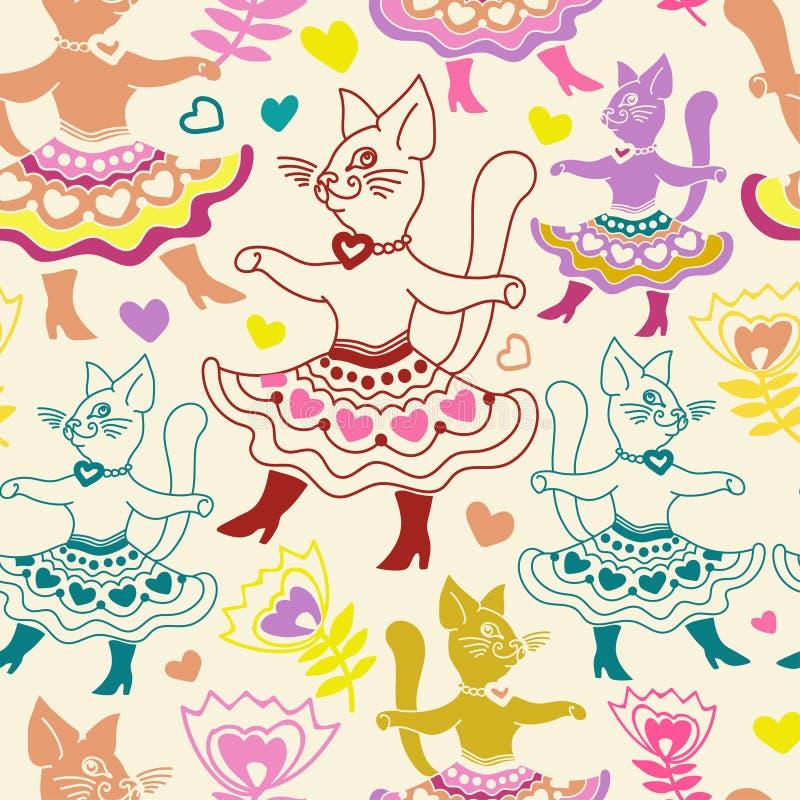 Modello senza cuciture del bambino con i gatti del fumetto nello stile di gioco da ragazzi illustrazione vettoriale