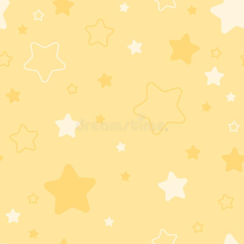 Modello senza cuciture del bambino con le stelle fondo continuo giallo semplice pittura del tessuto Campione del tessuto Carta da illustrazione di stock