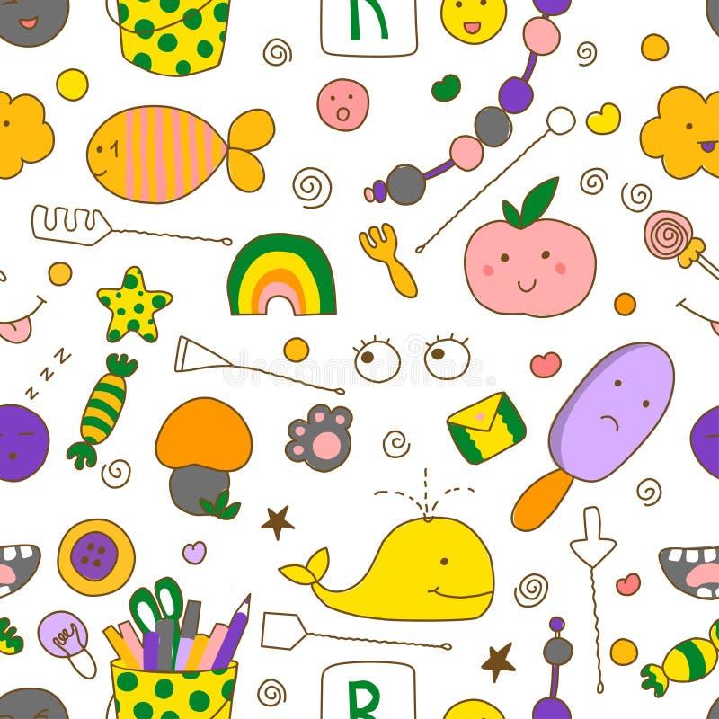 Modello senza cuciture del bambino di kawaii con gli strumenti di logopedia con gli scarabocchi svegli illustrazione di stock