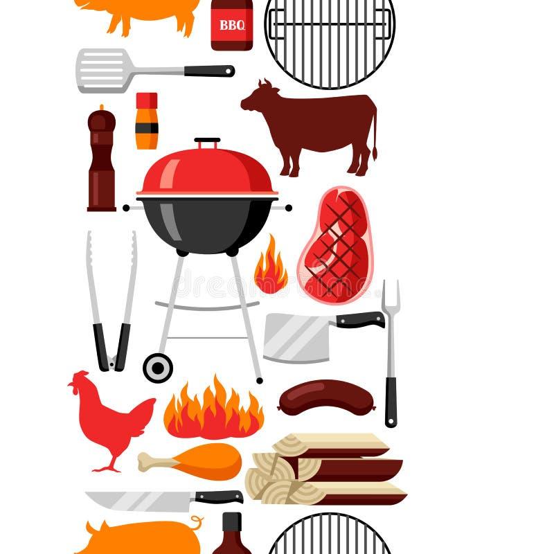 Modello senza cuciture del Bbq con gli oggetti e le icone della griglia illustrazione di stock