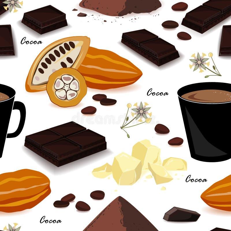 Modello senza cuciture del cacao Baccello, fagioli, burro di cacao, liquore del cacao, cioccolato, bevanda del cacao e polvere Il illustrazione di stock