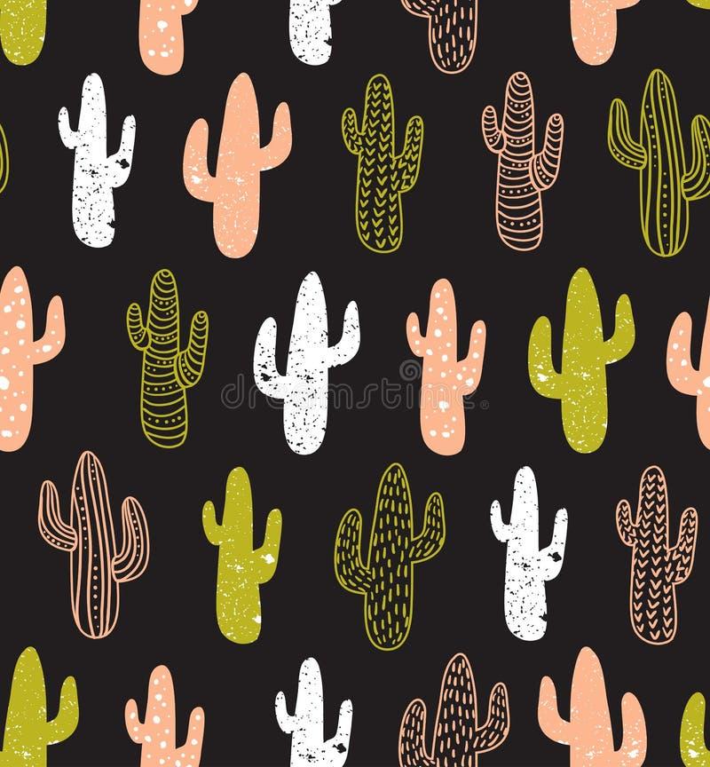 Modello senza cuciture del cactus dei pantaloni a vita bassa Fondo tribale di boho dei cactus Progettazione della stampa del tess royalty illustrazione gratis