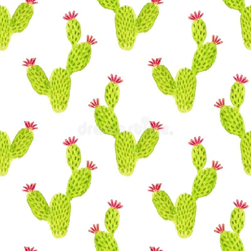 Modello senza cuciture del cactus dell'opunzia dell'acquerello Fondo della pittura della mano Può essere usato per progettazione  illustrazione vettoriale