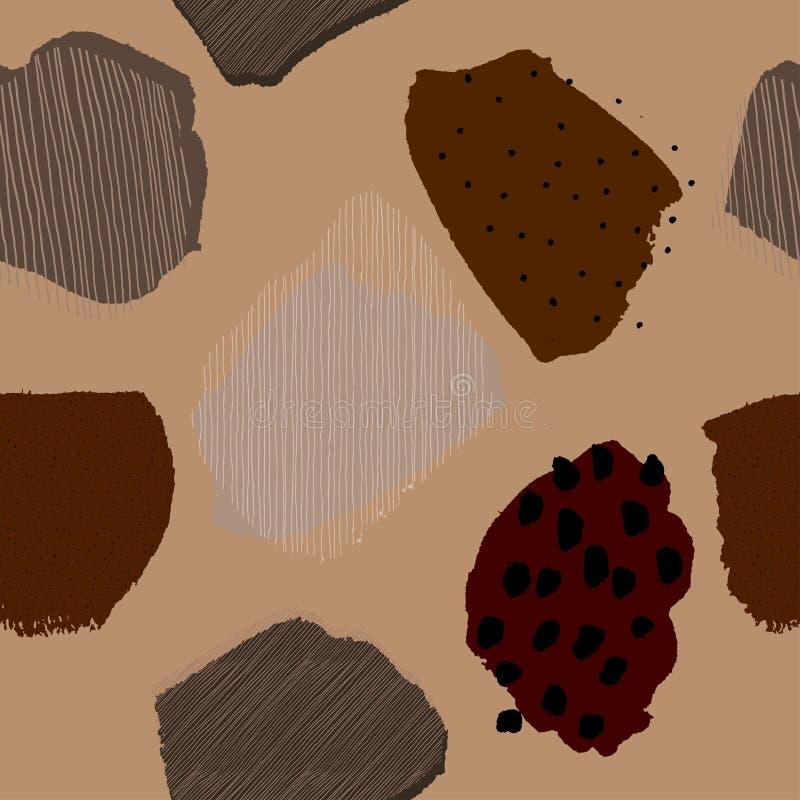 Modello senza cuciture del caffè delle bacche astratte contemporanee del collage illustrazione vettoriale