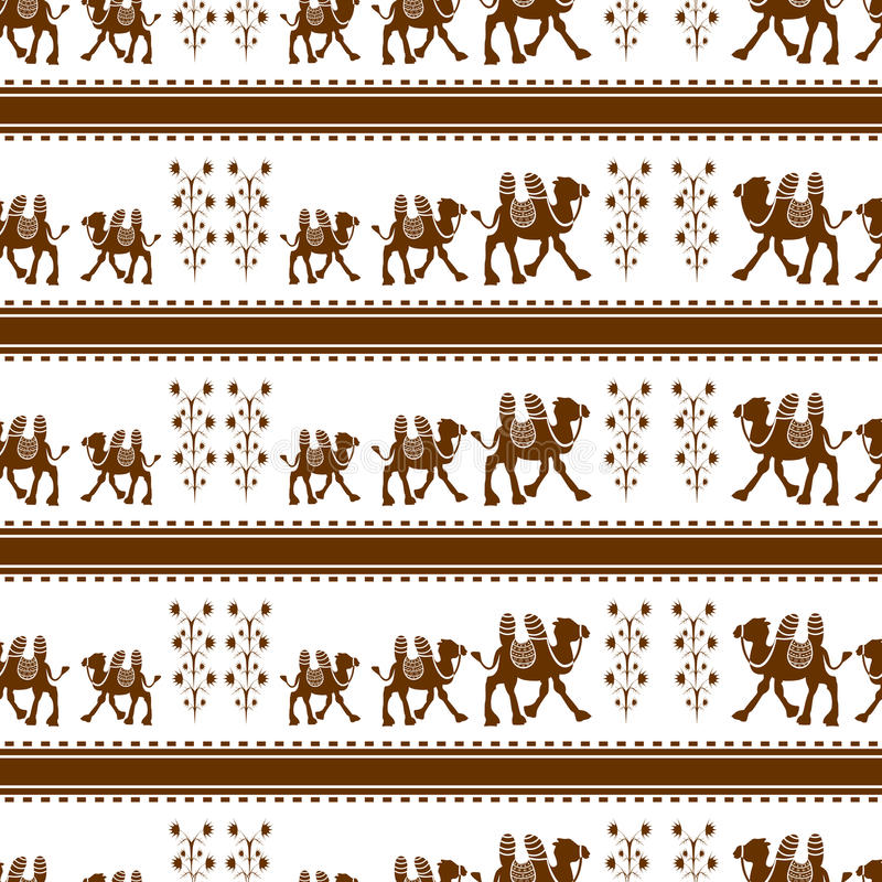 Modello senza cuciture del cammello Illustrazione di vettore immagini stock