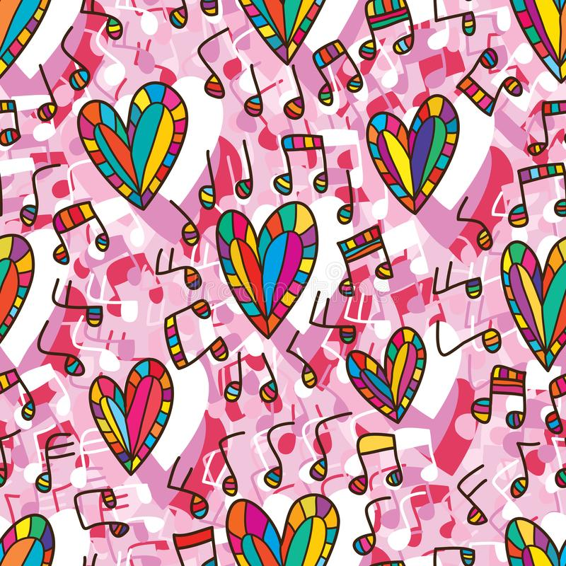 Modello senza cuciture del cerchio di musica di amore illustrazione di stock