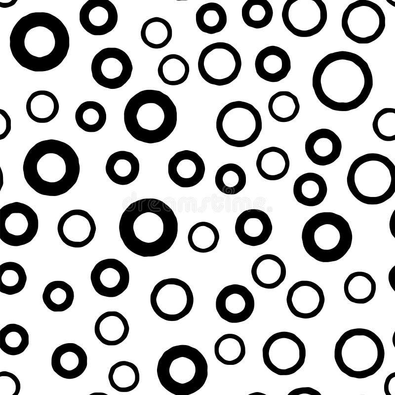 Modello senza cuciture del cerchio nero con gli anelli spessi e sottili disegnati a mano del profilo Struttura monocromatica caot royalty illustrazione gratis
